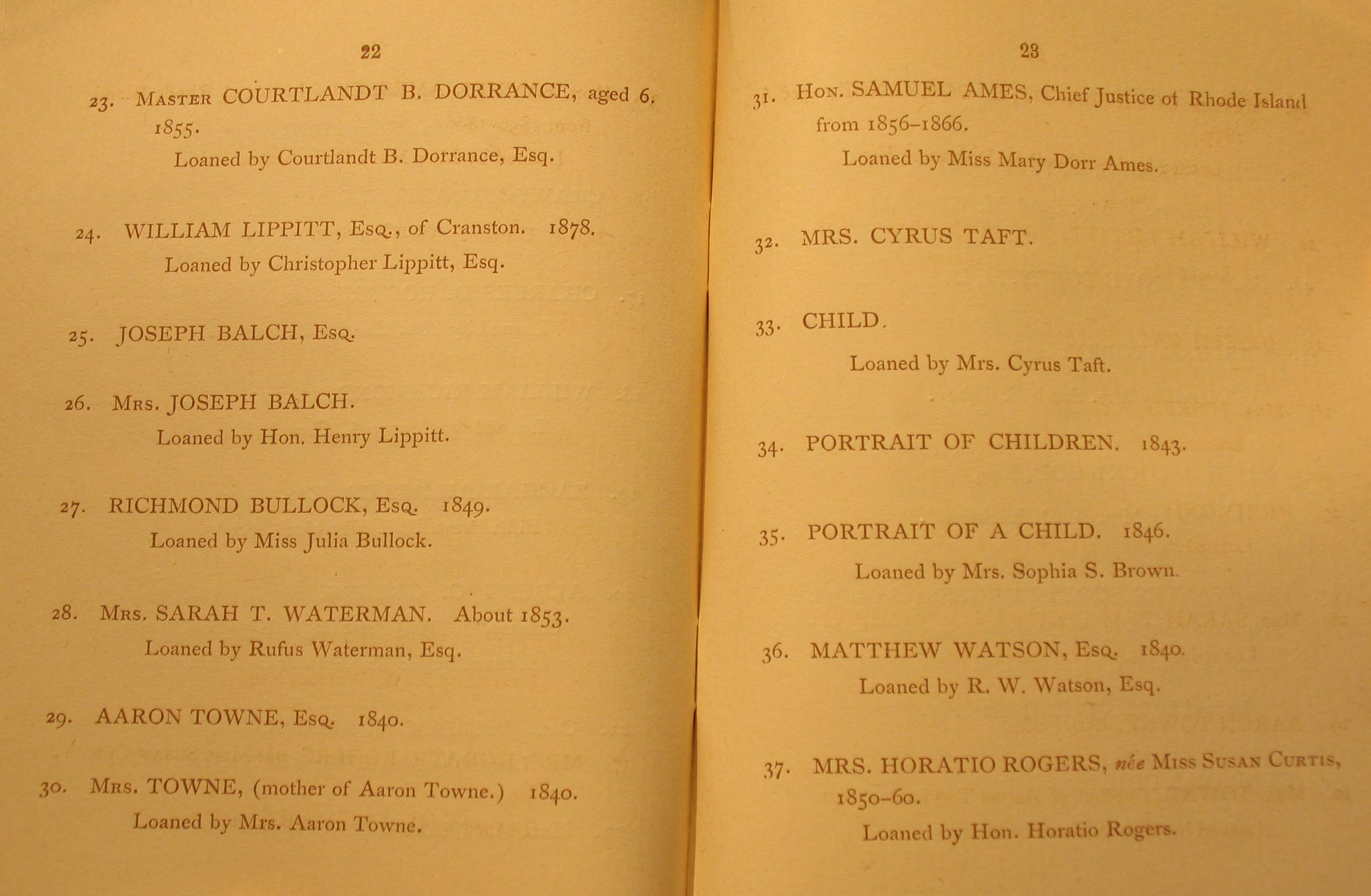 Memorial Exhibition of the works of James S. Lincoln, March 2, 1888, Providence Art Club