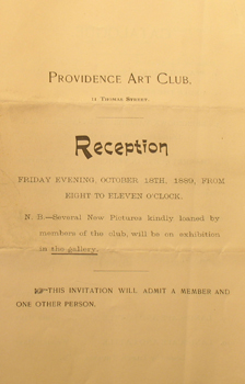 Catalogue, October 18, 1889, Providence Art Club
